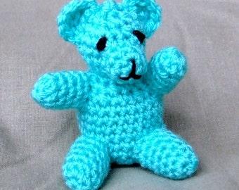 Crochet Little Teddy Handmade Green Wool Soft Toy Gift
