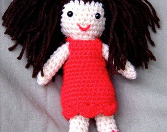 Crochet Girl / Doll Handmade Red Dress Brown Hair Wool Soft Toy Gift