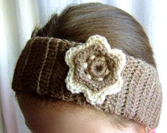 Crochet  Handmade Headband / Ear Warmer with Flower Motif, Wool, Gift