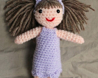 Crochet Girl / Doll with Easter Bunny Ears Handmade Lilac Dress Brown Hair Wool Soft Toy Gift