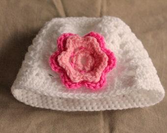 Baby Beanie Hat, 0-3 months, Handmade Crochet with Flower Motif, Wool, Gift