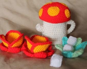 Crochet Tea Set, Mushroom Teapot, Flower Cups, Leaf Sugar Bowl Handmade Wool Soft Toy Gift