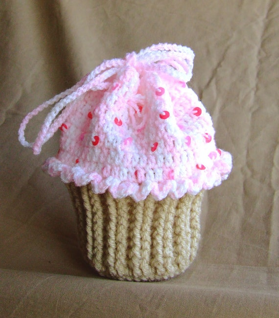 Crochet Handmade Cupcake Purse / Bag with Sequins, Wool, Gift