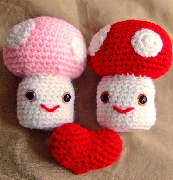 Crochet Pair of Mushrooms with Valentine Love Heart Handmade Animal Wool Soft Toy Gift