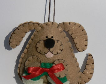 Felt Dog Ornament - Tan