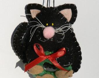 Felt Cat Ornament - Black