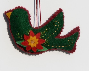 Felt Bird Ornament with Poinsettia