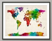 Watercolor Map of the World Map, Art Print (687)