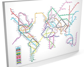 World Map as a Tube Metro System, Canvas Art Print, 22x34 inch (596)