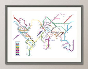 World Map as a Tube Metro Subway System, Art Print (596)