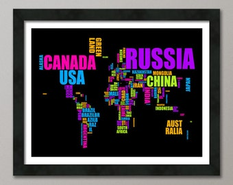 Typographic Text Map of the World Map, Art Print (672)