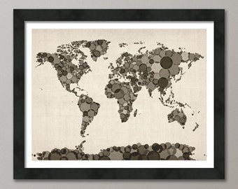 Circles Map of the World Map, Art Print (903)