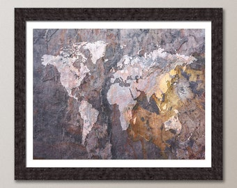 Map of the World Map Abstract Stone, Art Print (426)