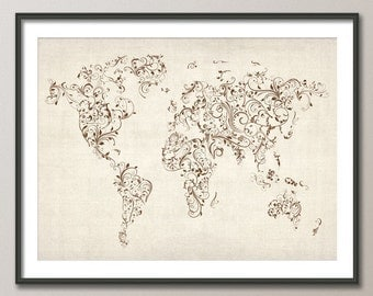 Map of the World Map Floral Swirls, Art Print (432)