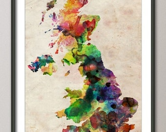 Great Britain UK Watercolor Map, Art Print - (239)