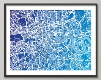 London Map, Art Print, London Street Map (510)