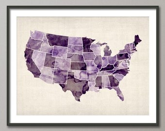 Watercolor United States Map Usa Art Print 573