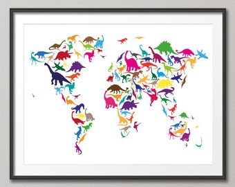 Dinosaur Map of the World Map, Art Print (777)