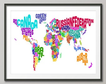 Typographic Text Map of the World Map, Art Print (891)