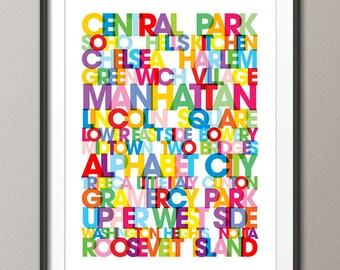 Manhattan Boroughs Bus Blind, Art Print (780)