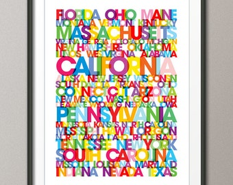 States of the United States, USA Bus Blind / Roll, Art Print (781)