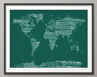 Map of the World Map from Old Sheet Music, Art Print (785)