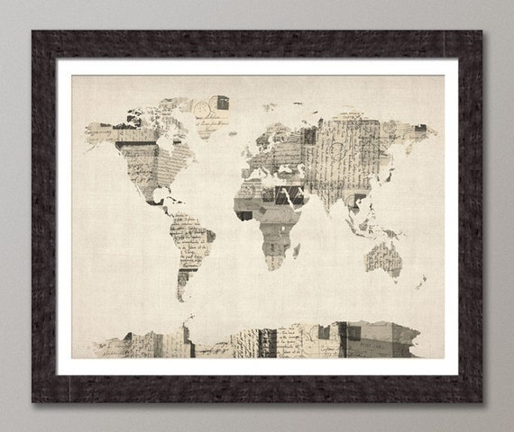 Map of the World Map from Old Postcards, Art Print (896)