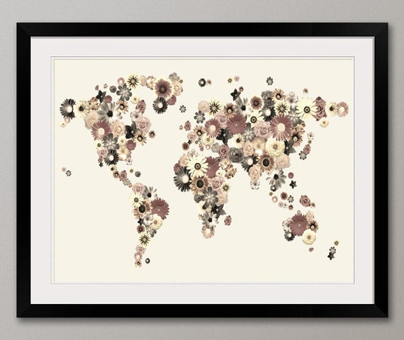 Map of the World Map from Flowers, Art Print (219)