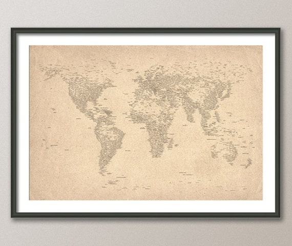 City Text Map of the World Map, Art Print, 24x36 inch (162)