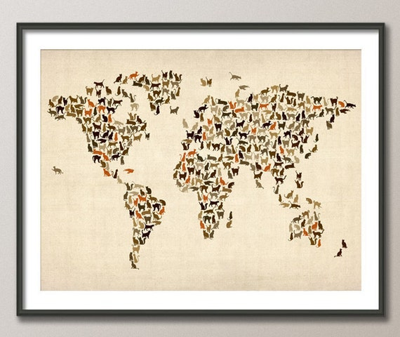 Cats Map of the World Map, Art Print (180)