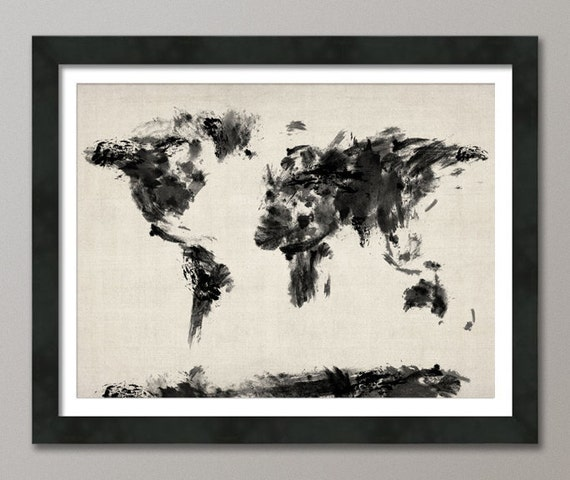 Map of the World Map Dark Abstract Painting, Art Print (101)