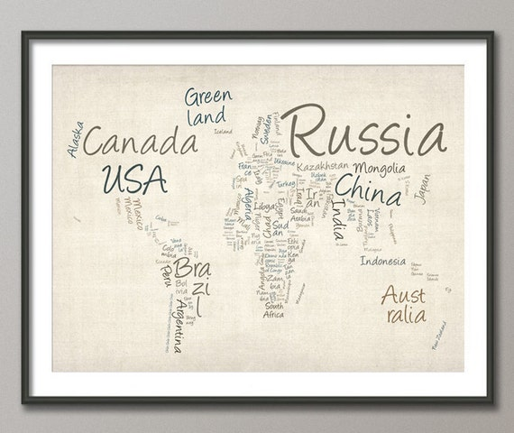 Writing Text Map of the World Map, Art Print  (362)
