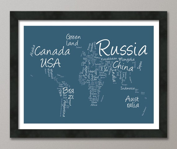 Writing Text Map of the World, Art Print, color choice (377)