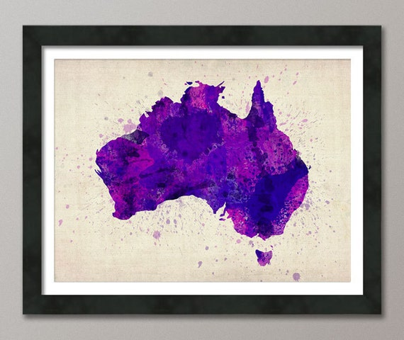 Australia Watercolor Map Art Print, Art Print (477)