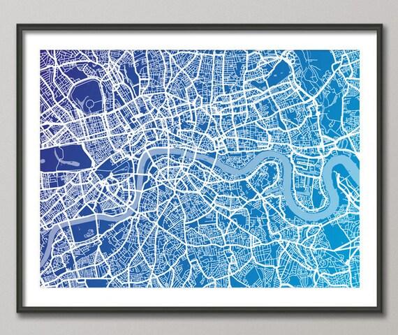 London Map, Art Print, London Street Map (510)