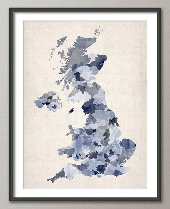 Great Britain UK Watercolor Map, Art Print (621)