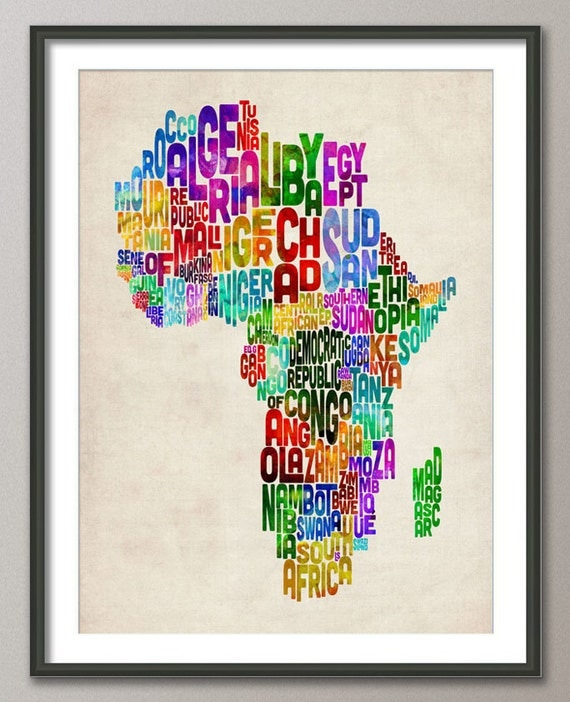 Typography Map of Africa Map, Art Print (773)
