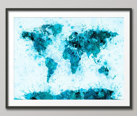 Paint Splashes Map of the World Map, Art Print (797)