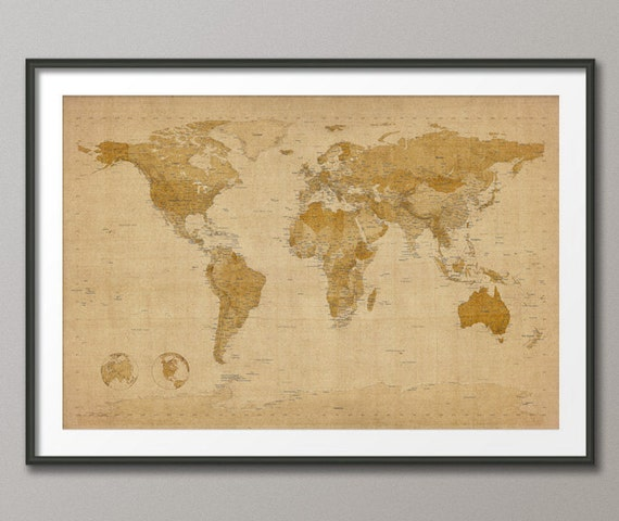 Antique Style Map of the World Map, Art Print, 24x36 inch (228)