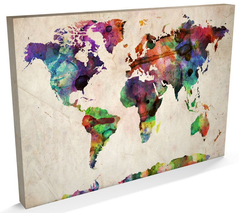Map of the World Map Watercolour Canvas Art Print 22x34 inch