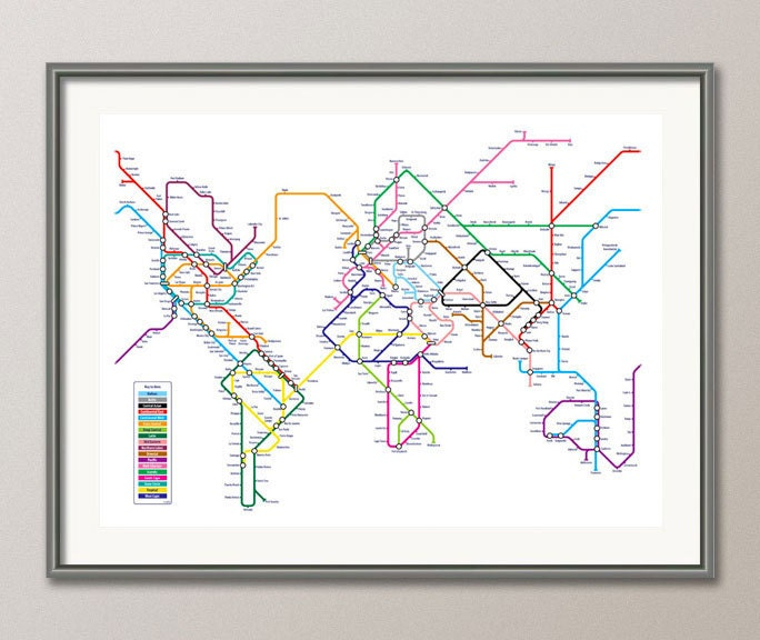 World map as a tube metro subway system art print 596 zoom gumiabroncs Gallery