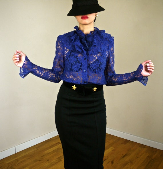 Victorian High Neck Lace Sheer Long Sleeves