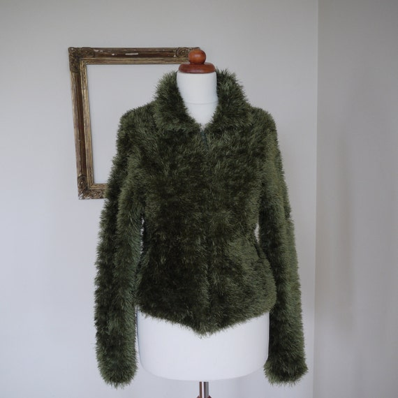 SALE 80s Fuzzy Shaggy Cardigan Jacket