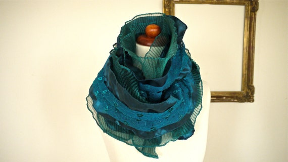 SALE -- Vintage Long Ruffle Organza Lace Tafetta Multi Layer Scarf