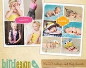 INSTANT DOWNLOAD - 2 Blog Boards & 16x20 Collage Template - E420