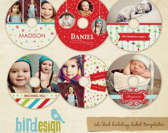 INSTANT DOWNLOAD  - Cd/Dvd Holiday Label templates - E113