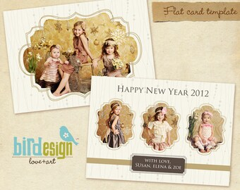PSD Holiday Card Template - Gold Heart - E243