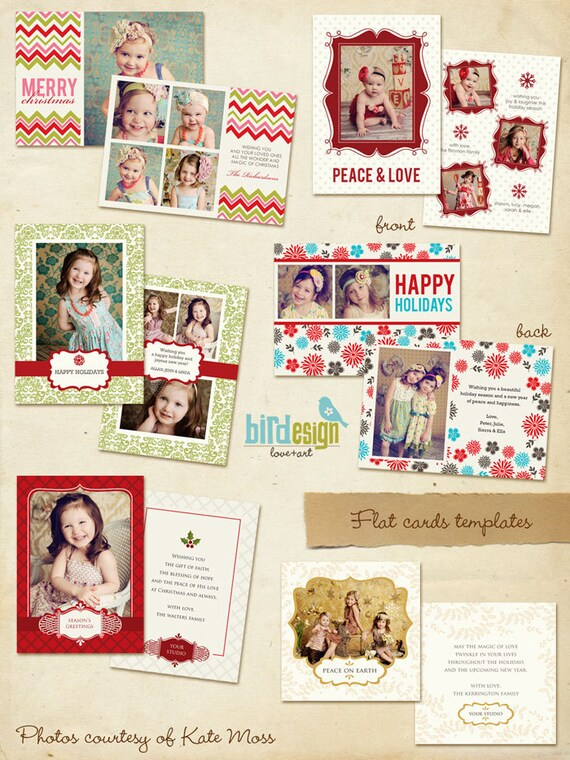 INSTANT DOWNLOAD  - 6 Holiday Cards - Photoshop templates -  Happy Dreams - E164