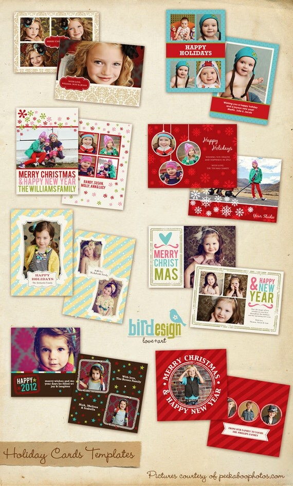 INSTANT DOWNLOAD - 8 Holiday Cards Templates set - Deluxe Christmas - E173