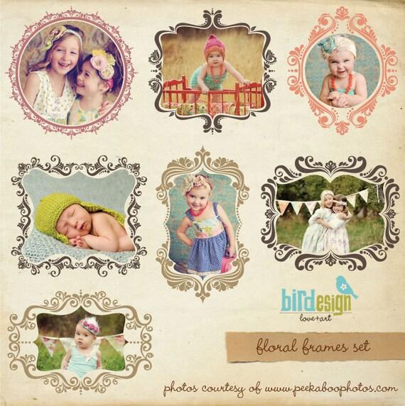 INSTANT DOWNLOAD - Digital frames set - Floral frames - E191